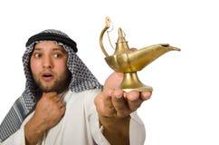 Uomo arabo con la lampada isolata Fotografie Stock Libere da Diritti