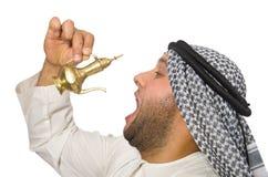 Uomo arabo con la lampada isolata Fotografia Stock Libera da Diritti