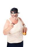 Uomo arrabbiato con birra Fotografia Stock Libera da Diritti
