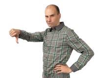 Uomo arrabbiato con il pollice giù Fotografia Stock Libera da Diritti