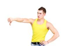 Uomo arrabbiato con il pollice giù Immagine Stock Libera da Diritti