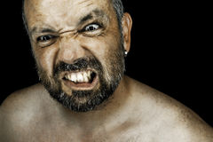 Uomo arrabbiato con la barba Fotografie Stock