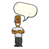 uomo arrabbiato del fumetto con i baffi con il fumetto Fotografie Stock Libere da Diritti