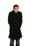 Uomo asiatico in cappotto fotografie stock
