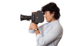 uomo asiatico che tiene vecchia macchina fotografica Fotografia Stock Libera da Diritti