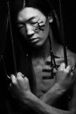 Uomo asiatico con il katana Fotografia Stock Libera da Diritti