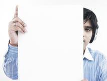 Uomo asiatico con il suo cartello in bianco Immagini Stock Libere da Diritti