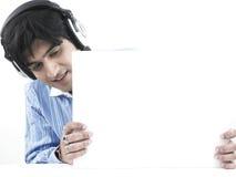 Uomo asiatico con il suo cartello bianco fotografie stock libere da diritti