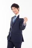 Uomo asiatico di affari con la carta in bianco. Immagine Stock Libera da Diritti