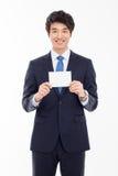 Uomo asiatico di affari con la carta in bianco. Fotografie Stock Libere da Diritti