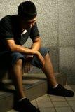 Uomo asiatico infelice Fotografia Stock Libera da Diritti