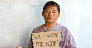 Uomo asiatico senza casa Fotografia Stock Libera da Diritti