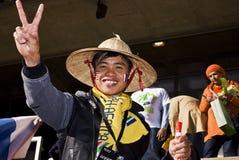 Uomo asiatico - sostenitore di calcio - WC 2010 della FIFA Fotografie Stock Libere da Diritti