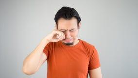 Uomo asiatico triste Fotografia Stock Libera da Diritti