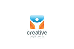 Uomo attivo del quadrato di vettore di progettazione di logo di forma fisica di sport Fotografia Stock Libera da Diritti