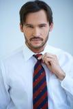 Uomo attraente che regola suo legame Fotografie Stock Libere da Diritti
