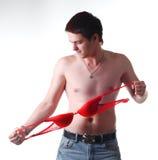 Uomo attraente con il reggiseno Fotografie Stock Libere da Diritti