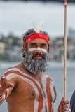 Uomo australiano aborigeno a Sydney Fotografia Stock Libera da Diritti