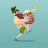 Uomo barbuto Carry Beer Barrel Illustrazione Vettoriale