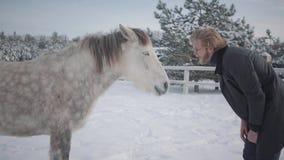 Uomo barbuto con i vetri che prendono in giro un cavallo Tipo allegro allegro divertendosi con un cavallo su un ranch del paese n video d archivio
