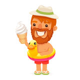 Uomo barbuto con il gelato sulla spiaggia illustrazione vettoriale