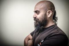 Uomo barbuto di profilo Immagine Stock
