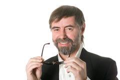 Uomo barbuto di risata Immagine Stock