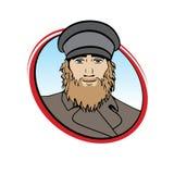 Uomo barbuto nel retro logo dell'abbigliamento Immagine Stock