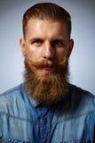 Uomo barbuto Uomo bello con una barba ed i baffi volteggiati Immagine Stock Libera da Diritti
