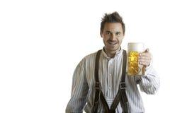 Uomo bavarese con la birra Stein (la massa) di Oktoberfest immagine stock