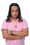 Uomo bello con capelli lunghi Fotografia Stock Libera da Diritti