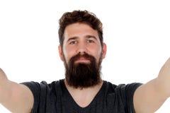 Uomo bello con la barba lunga Immagini Stock Libere da Diritti