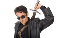 Uomo bello con la spada Fotografie Stock Libere da Diritti