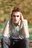 Uomo bello del ritratto all'aperto Fotografie Stock
