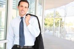 Uomo bello di affari all'ufficio Fotografia Stock