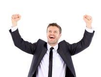Uomo bello fortunato che celebra Uomo di risata del vincitore Immagine Stock Libera da Diritti
