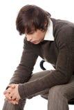 Uomo bello nella depressione Fotografia Stock