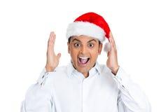 uomo bello stupito con il cappello di Santa Fotografia Stock Libera da Diritti