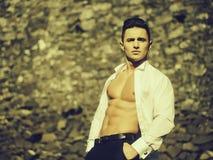 Uomo bello a torso nudo immagini stock
