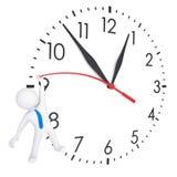 Uomo bianco 3d che appende sugli orologi dell'usato Immagine Stock