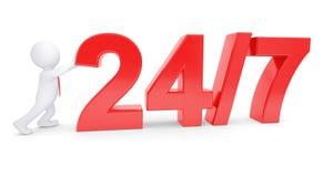Uomo bianco 3d che spinge un testo rosso Fotografia Stock Libera da Diritti
