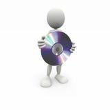 uomo bianco 3D con un CD Fotografia Stock