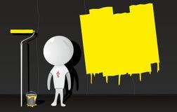 Uomo bianco con il rullo di vernice royalty illustrazione gratis