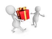 Uomo bianco 3d che dà il regalo dorato dell'arco ad un'altra persona immagini stock libere da diritti