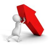Uomo bianco 3d che spinge verso l'alto grande freccia rossa Sfera differente 3d Immagini Stock
