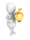 Uomo bianco 3d con Apple dorato Sfera differente 3d Fotografia Stock