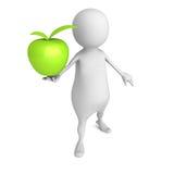 Uomo bianco 3d con grande Apple verde Fotografie Stock Libere da Diritti