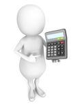 Uomo bianco 3d con il calcolatore dell'ufficio Concetto di finanze Immagini Stock Libere da Diritti