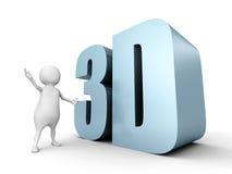 Uomo bianco 3d con la parola metallica brillante 3D Fotografie Stock Libere da Diritti
