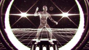 uomo bianco di 3D Wireframe nel fondo V2 di moto del ciclo del Cyberspace VJ illustrazione di stock